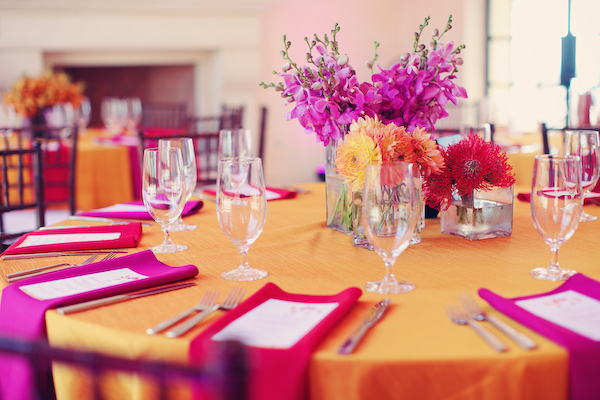 Bright, Modern Pink & Orange Wedding: Part 2 via TheELD.com