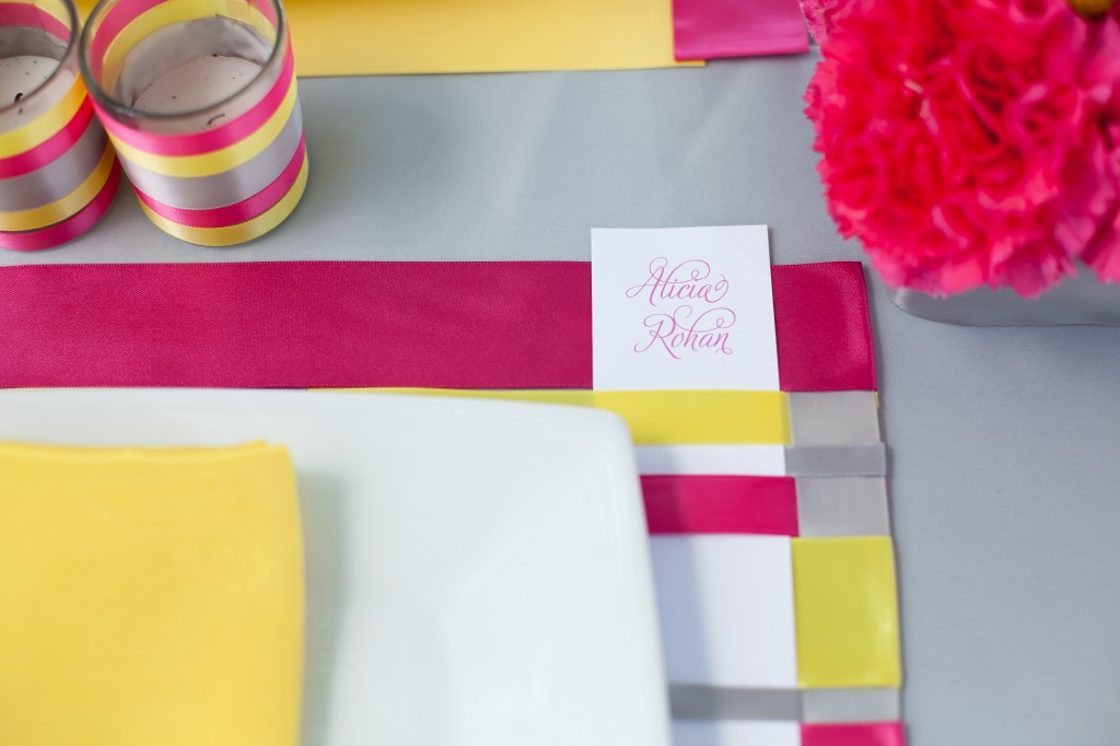 Pink, Yellow, & Gray Modern Ribbon Inspiration Shoot via TheELD.com