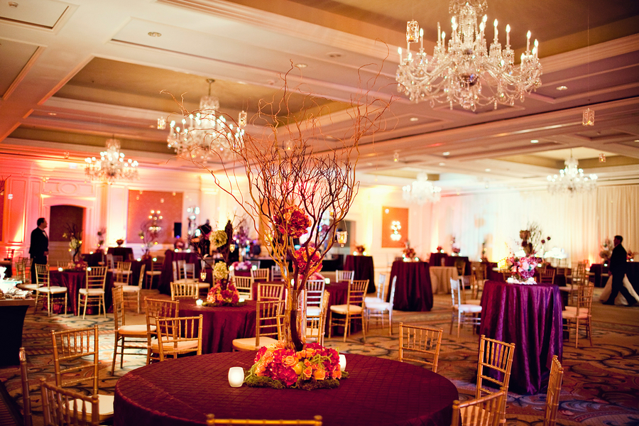 Elegant red ballroom wedding every last detail for Ball room decoration
