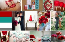 Aqua, red, and white wedding inspiration