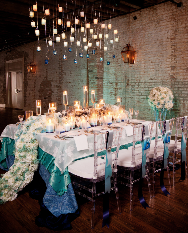 Aqua blue ombre inspiration shoot every last detail - Deco table retro ...