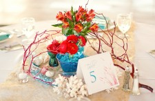 Aqua and red modern beach wedding 17
