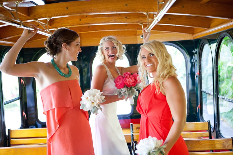 Modern Pink & Orange Beach Wedding via TheELD.com