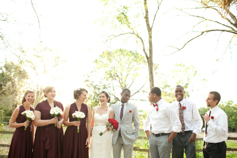 Red, Brown & White Vintage Rustic Wedding via TheELD.com