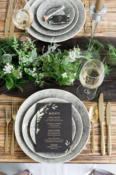 Organic Black, White, and Green Wedding Ideas via TheELD.com